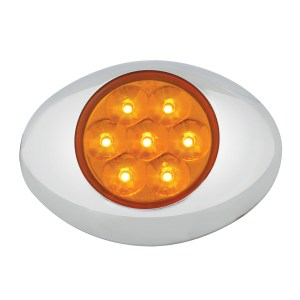 Small Low Profile Surface Mount Pearl LED Marker Light w/ Chrome Bezel