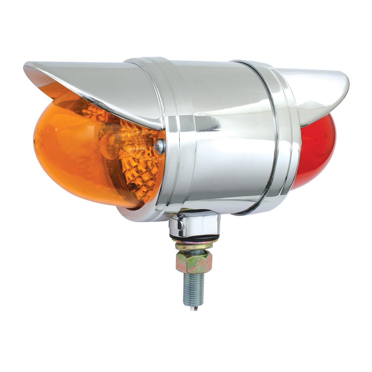 #78071 Double Face Chrome Die Cast Spyder Pedestal Light w/Visor - Amber/Red