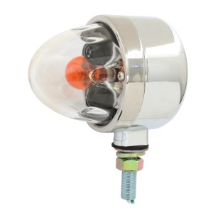 Single Face Chrome Die Cast Auxiliary Pedestal Light with Clear Glass Lens