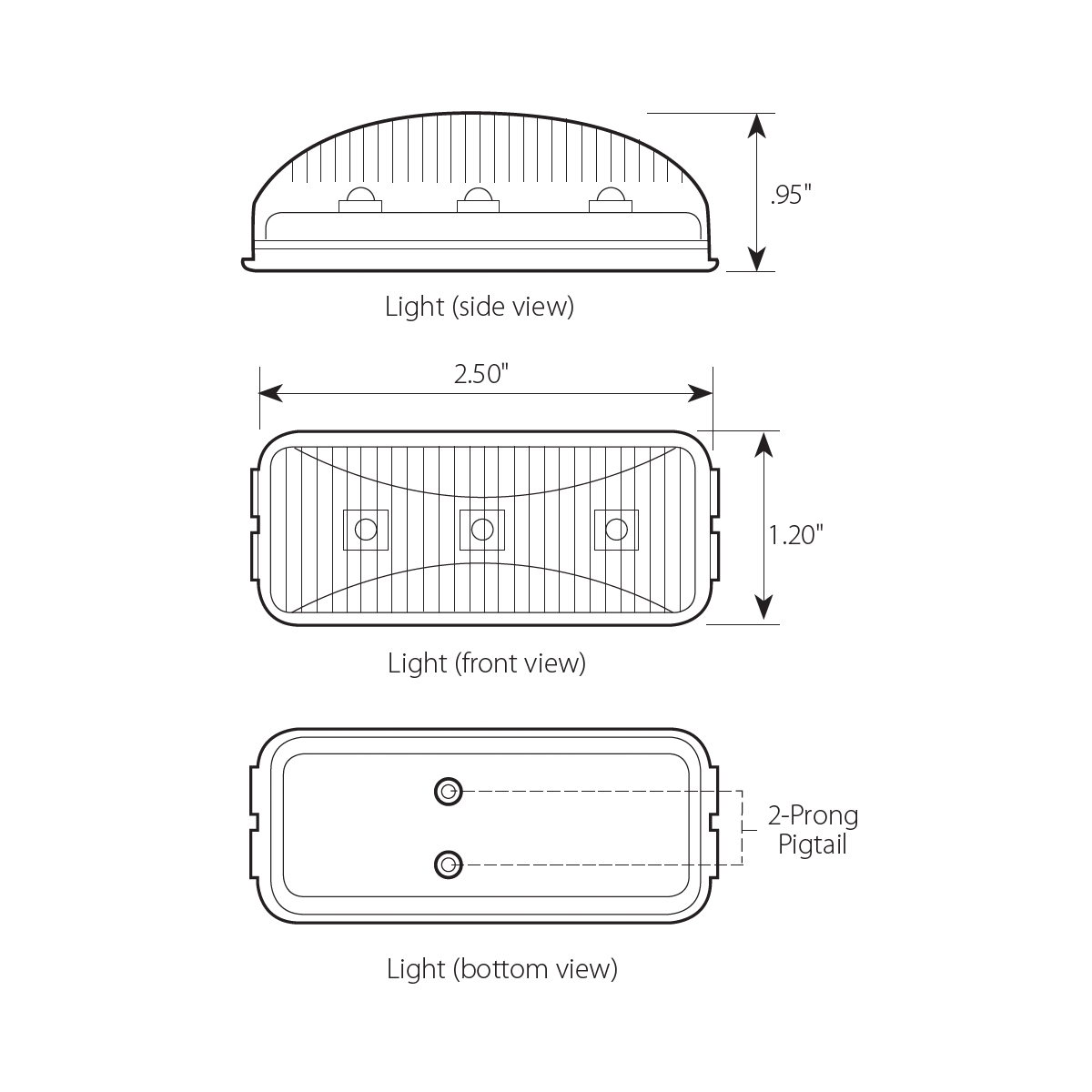 Small Rectangular LED Marker Light with Rail Style - Diagram