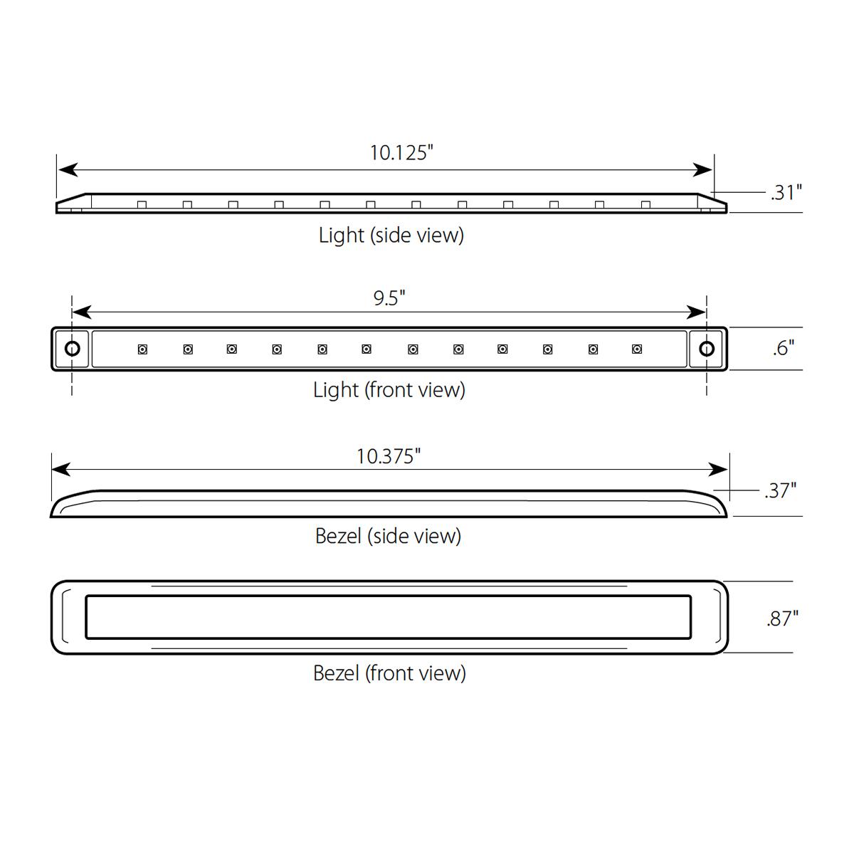 "10-1/8"" Ultra Thin LED Marker Light Bar with Chrome Bezel"