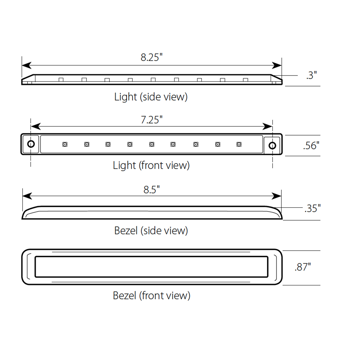 "8.25"" Ultra Thin LED Marker Light Bar with Chrome Bezel"
