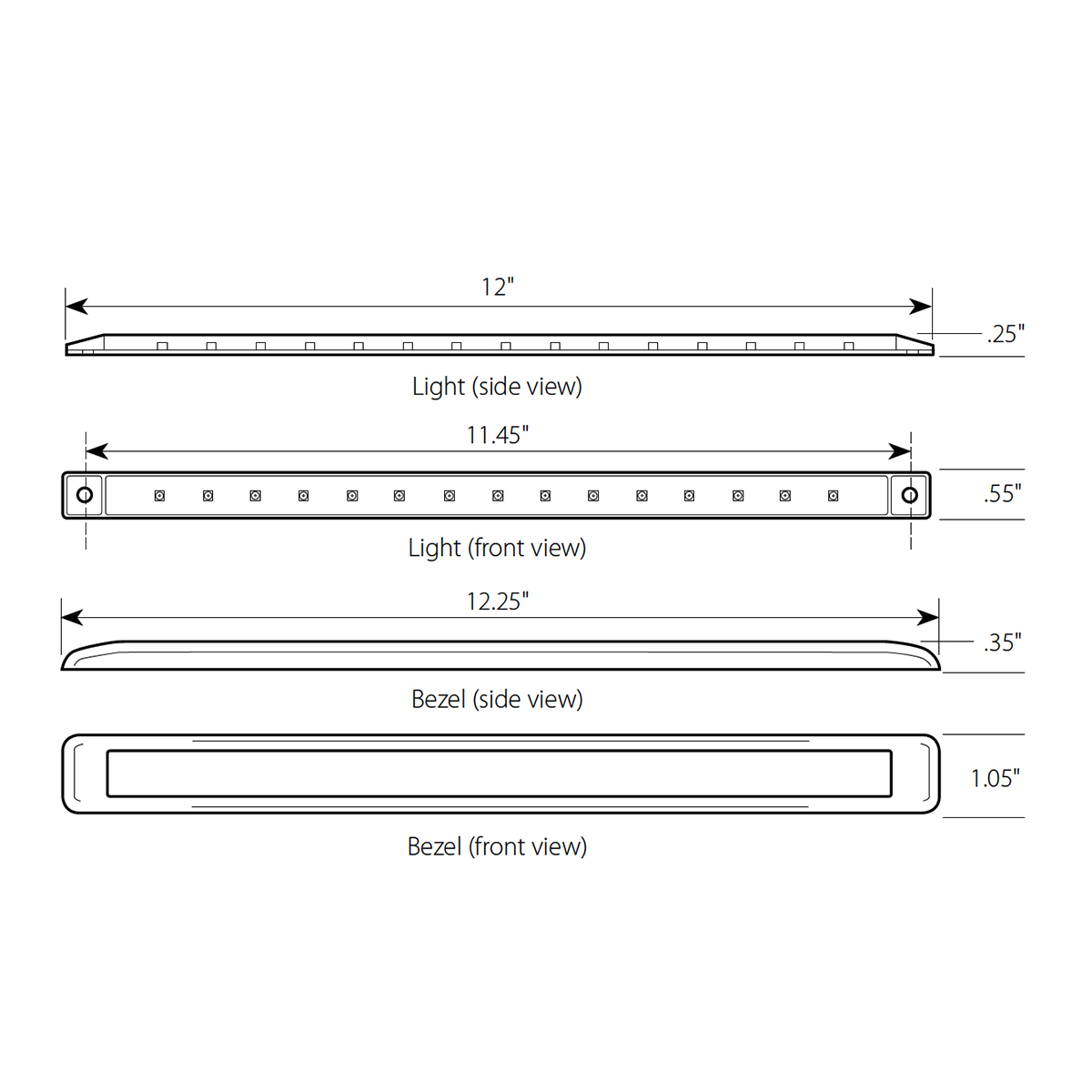 "12"" Ultra Thin LED Marker Light Bar"