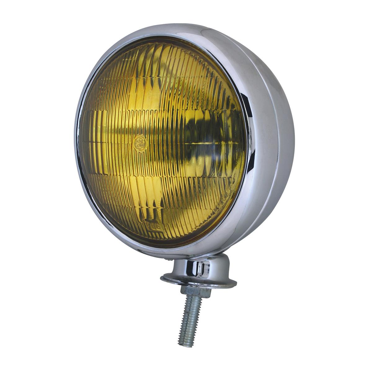 """#80411 Chrome Plated 6"""" Sealed Beam Light - Amber"""