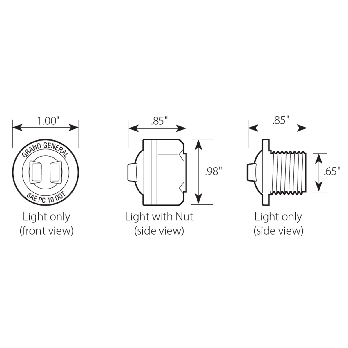 "1"" Mini Push/Screw-in Wide Angle LED Light - Diagram"