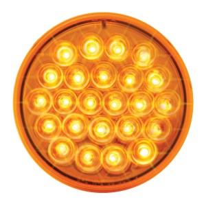 "4"" Round Synchronous/Alternating Pearl LED Strobe Light in Amber/Amber"