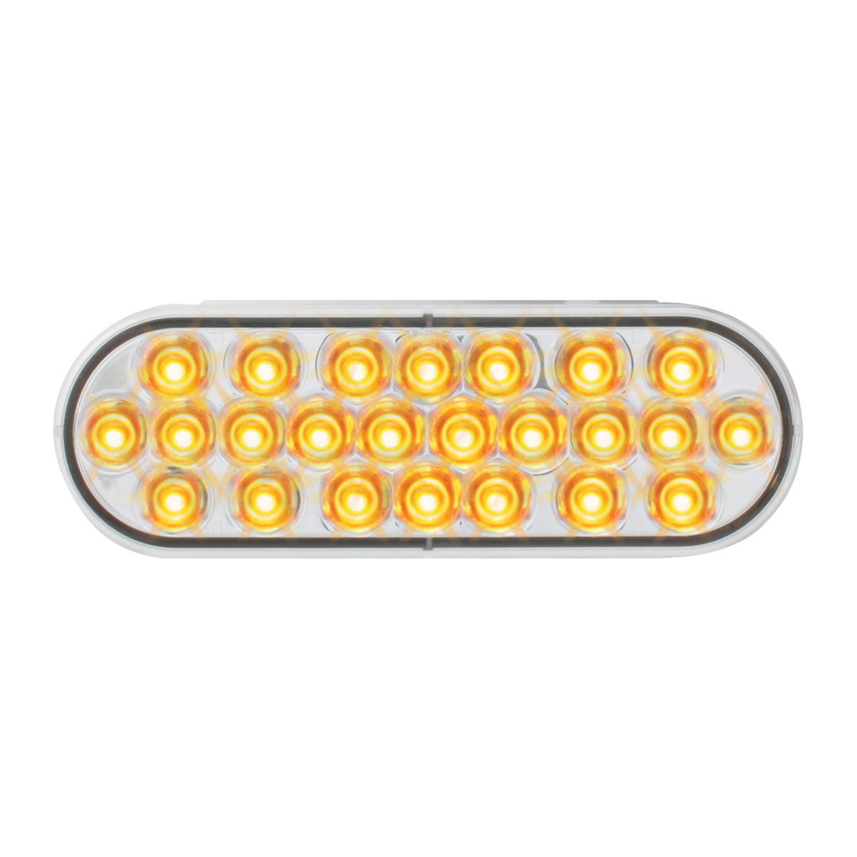 Oval Synchronous/Alternating Pearl LED Strobe Light in Amber/Clear
