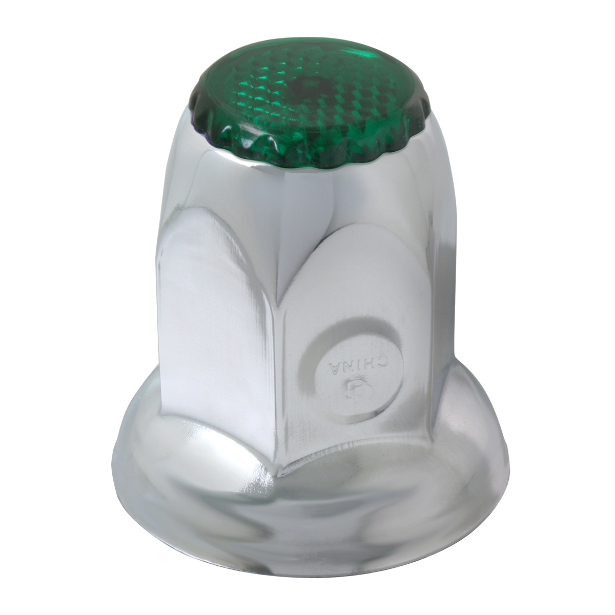 10492 Chrome Steel Green Reflector Push-On Lug Nut Cover w/ Flange