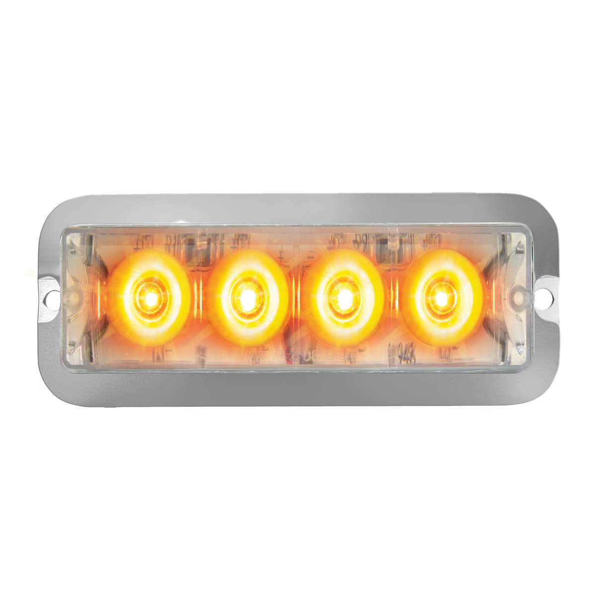 76531 Amber/Clear Medium Rectangular 4 LED Strobe Light