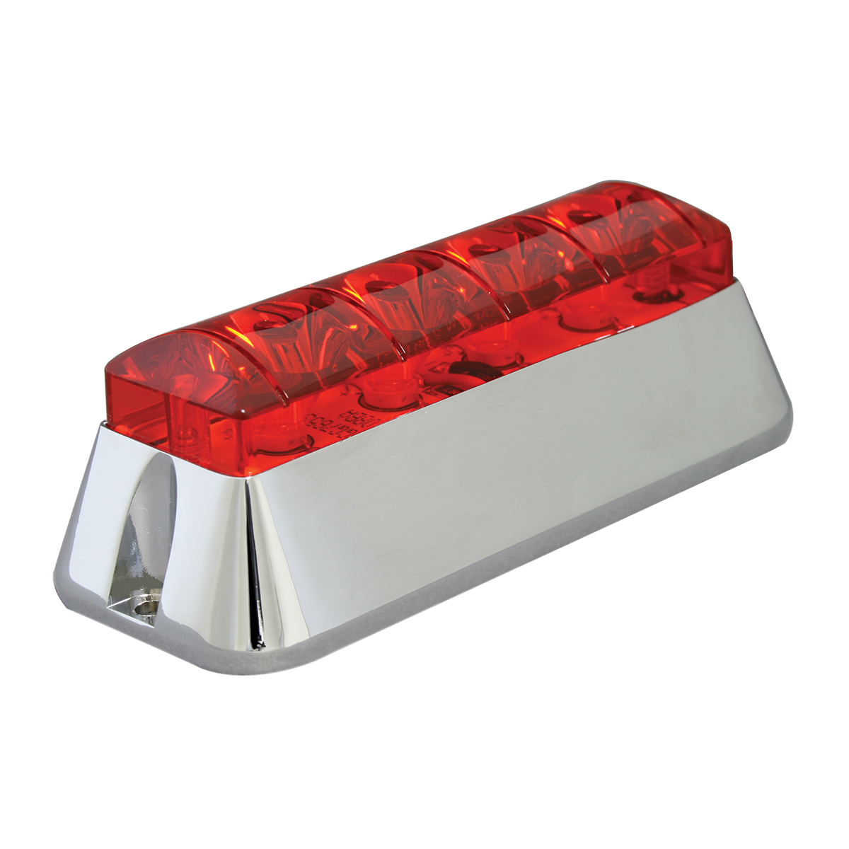 76532 Red/Red Medium Rectangular 4 LED Strobe Light