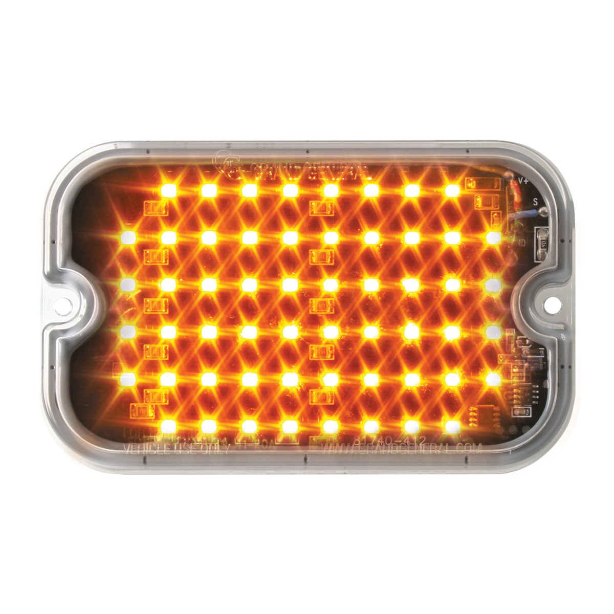 81740 Amber/Clear Ultra Thin Large Rectangular Strobe LED Light