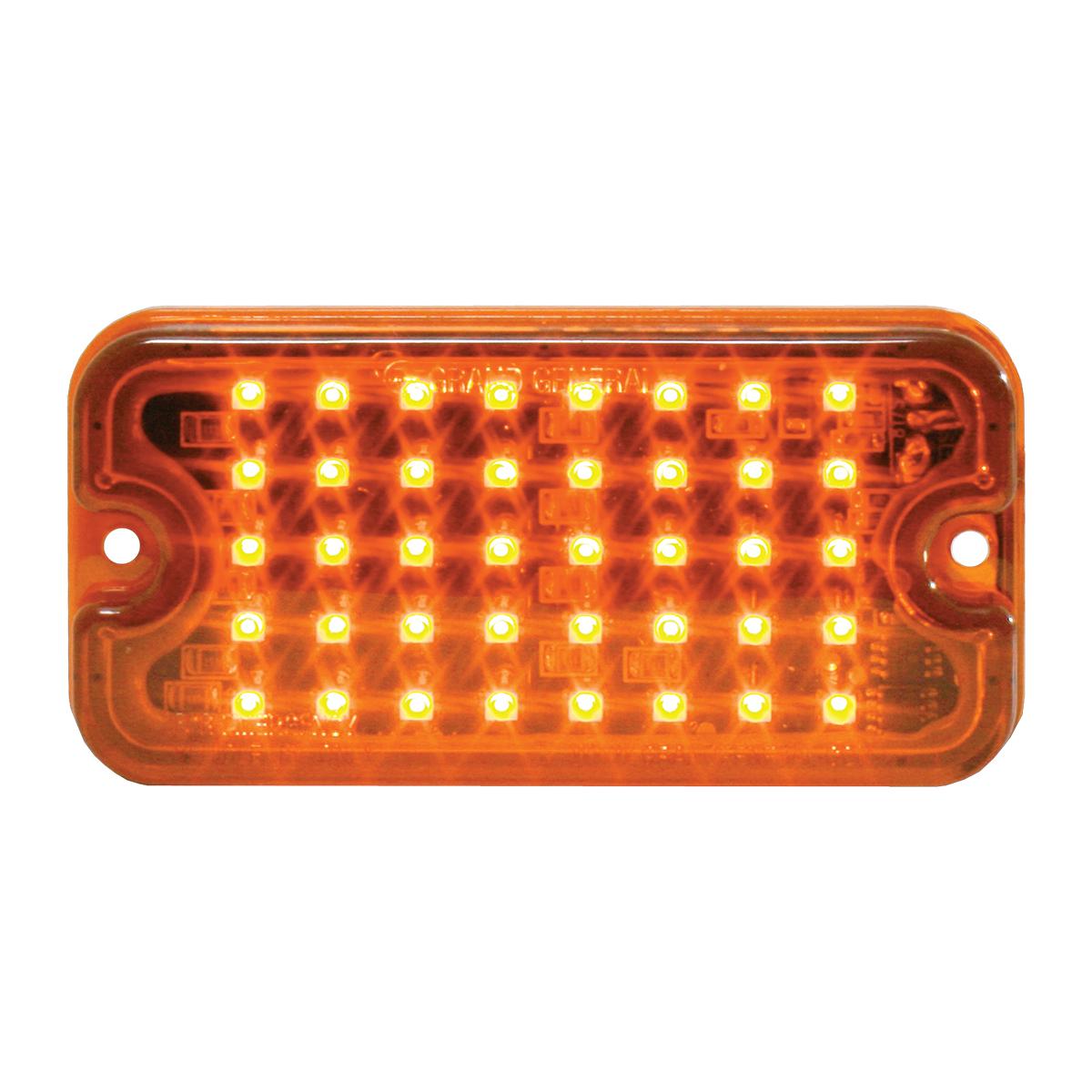 81746 Amber/Amber Ultra Thin Small Rectangular LED Strobe Light