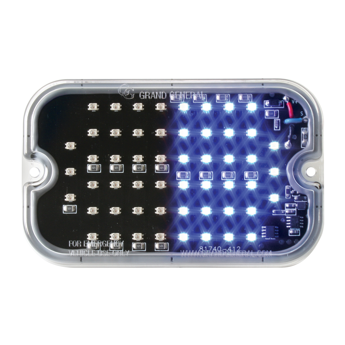 81761 Blue&Red/Clear Ultra Thin Large Rectangular Strobe LED Light