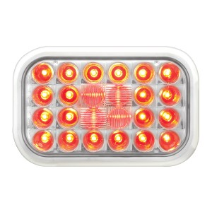 #77183 Rectangular Pearl LED Flat Red/Clear Light