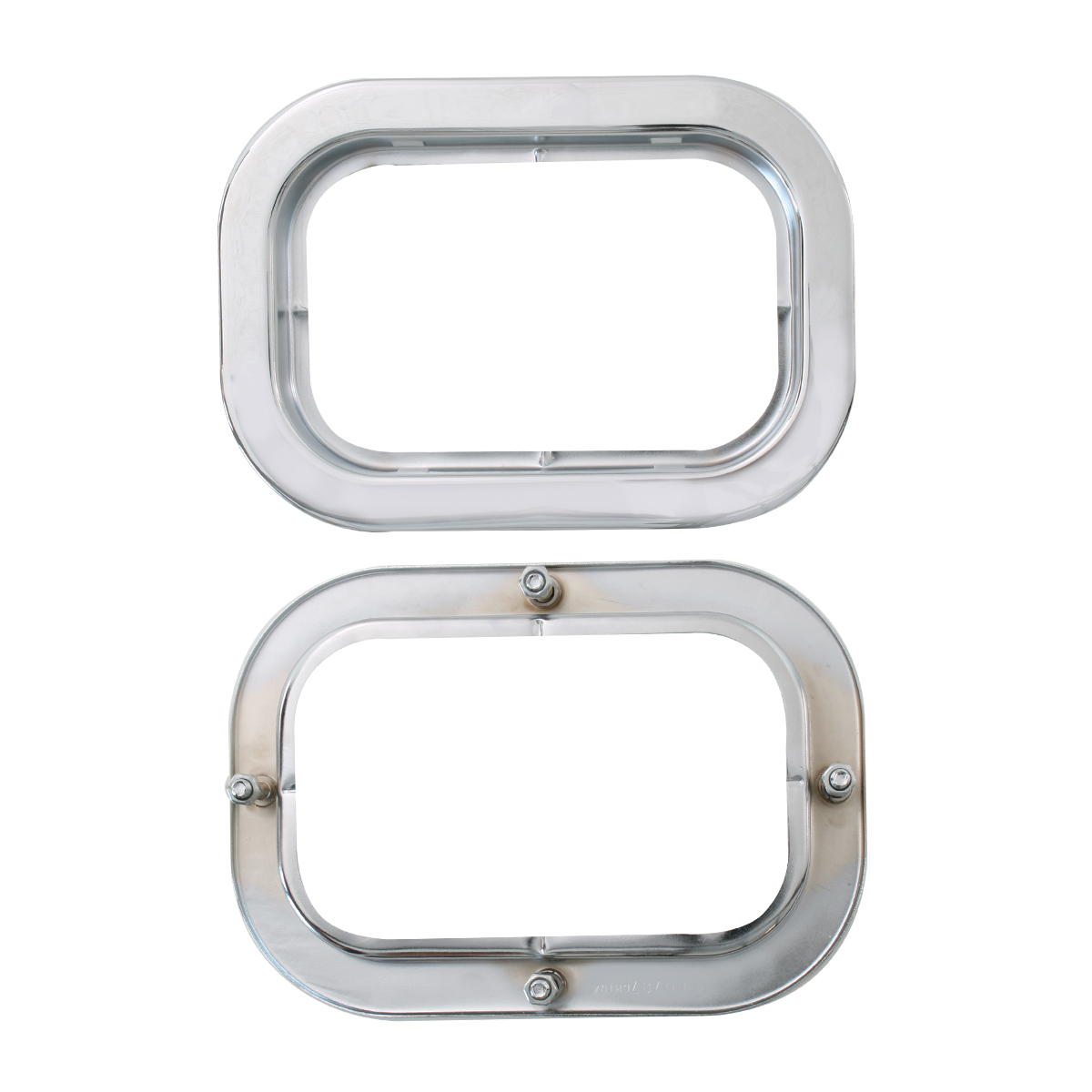 "80797 Front & Back of Chrome Flange Mount Bezel with Hidden Studs for 5.25"" Large Rectangular Light"