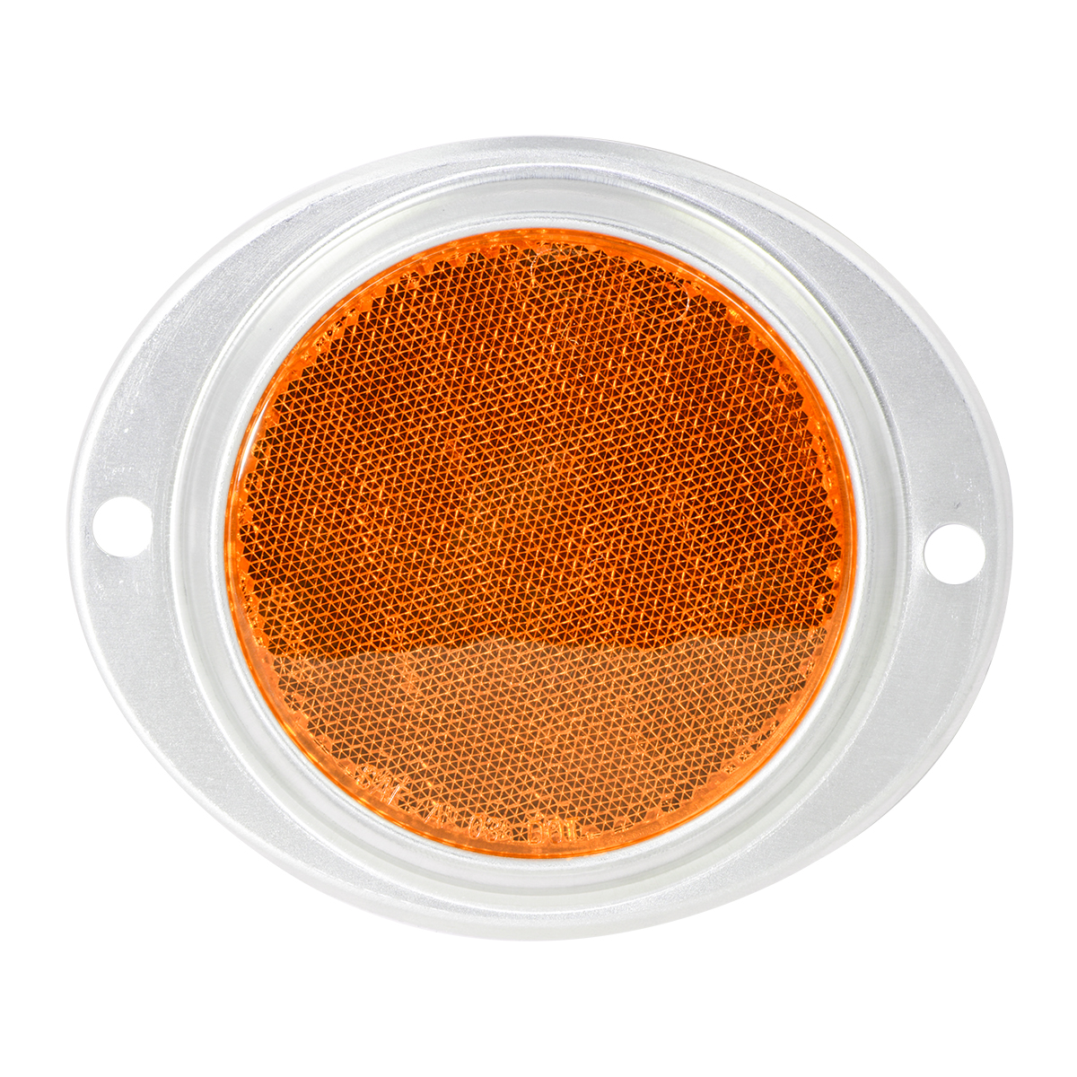 "80815 Amber 3"" Round Reflector w/ Aluminum 2 Hole Screw Mount Base"