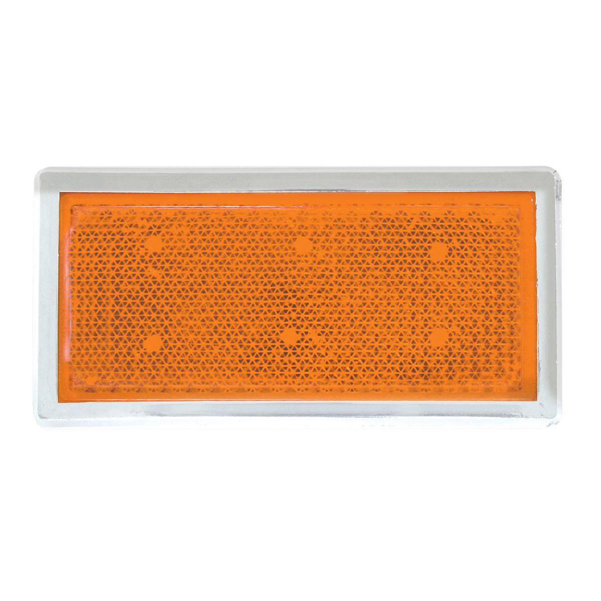 80851 Amber Rectangular Stick-On Reflector w/ Chrome Trim
