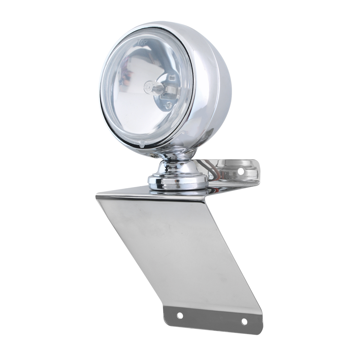 "#81756 Chrome Plated Steel Small ""Z"" Shaped Light Bracket with 4"" Clear Off-Road Halogen Light"