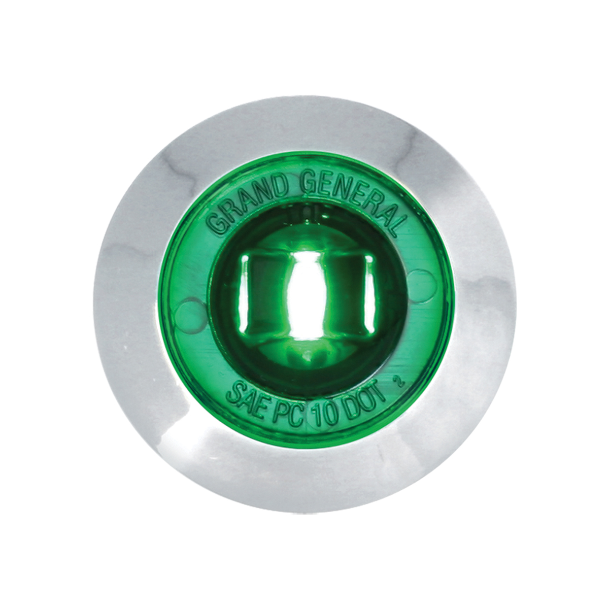 "87066 Green 1"" Dia. Mini Push/Screw-in Wide Angle LED Marker Light w/ Chrome Bezel"
