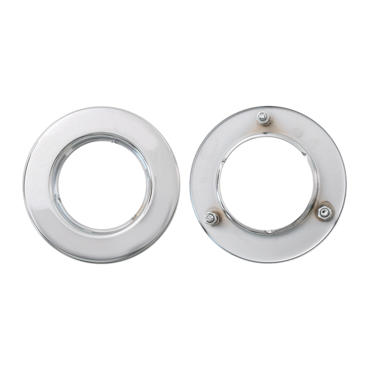 "Front & Back of Flange Mount Bezel with Hidden Studs for 2.5"" Round Light"