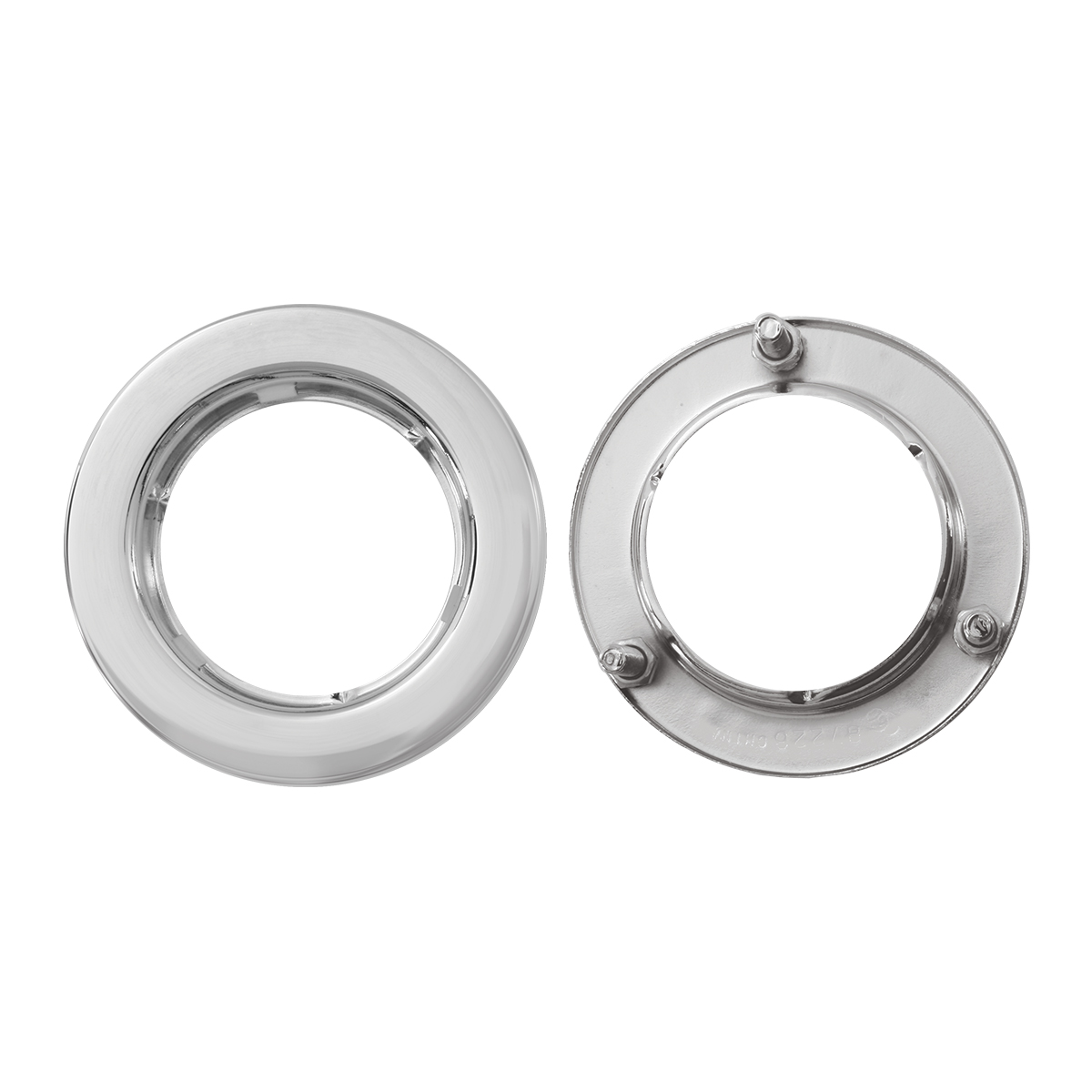 "Front & Back of Flange Mount Bezel with Hidden Studs for 2"" Round Light"