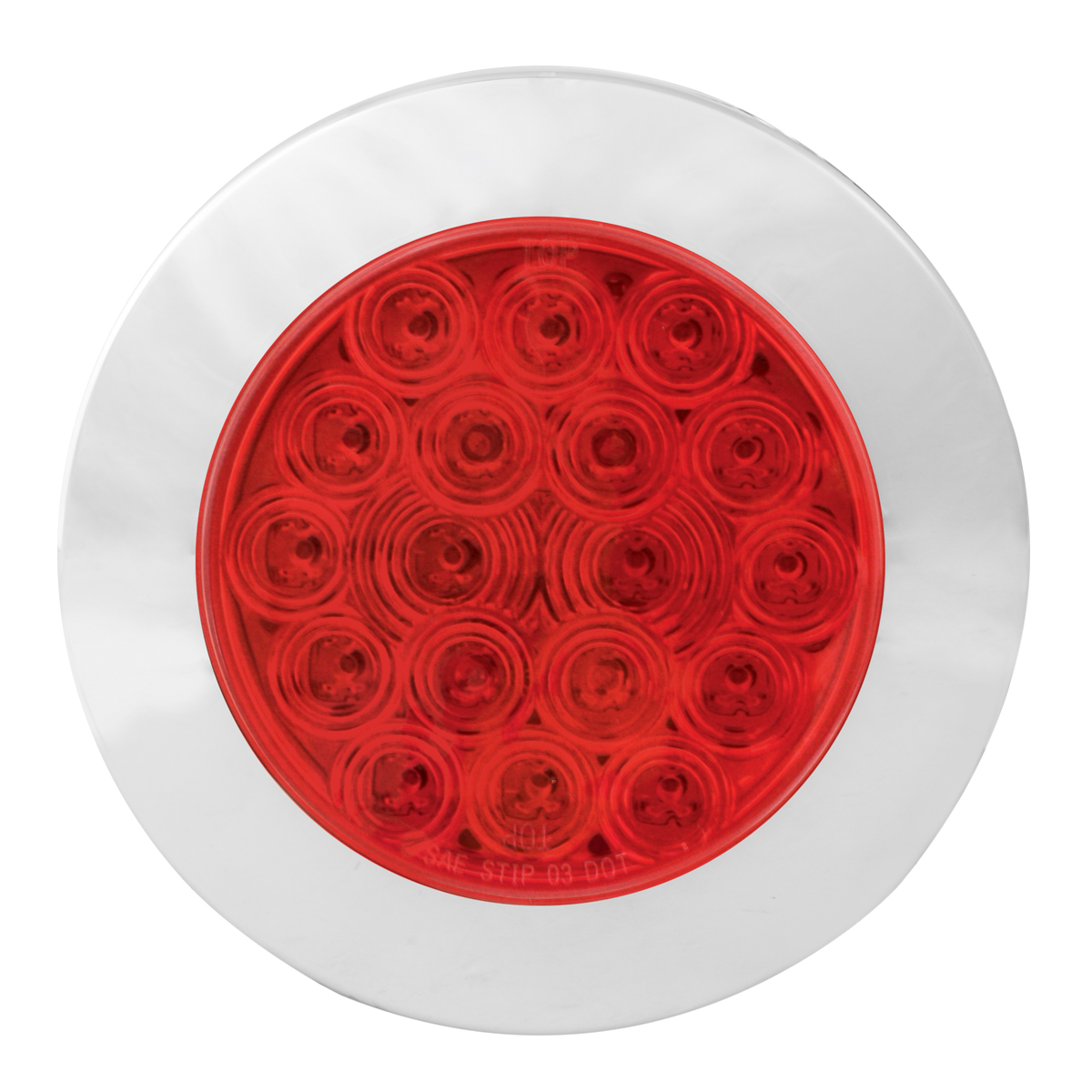 "75902 Red/Red 4"" Fleet Flange Mount LED Light with Chrome Twist & Lock Bezel"