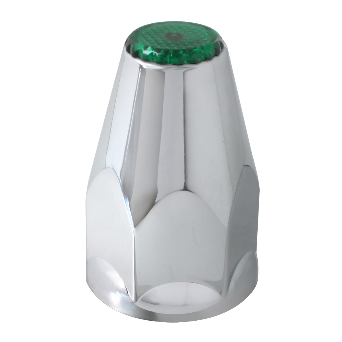 Classic Chrome Plastic 33mm Lug Nut Cover with Green Reflector