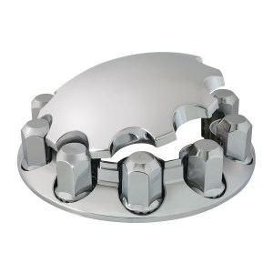 Chrome Plastic ABS Front Axle Cover Set with Locking Tabs & Standard Hub Cap