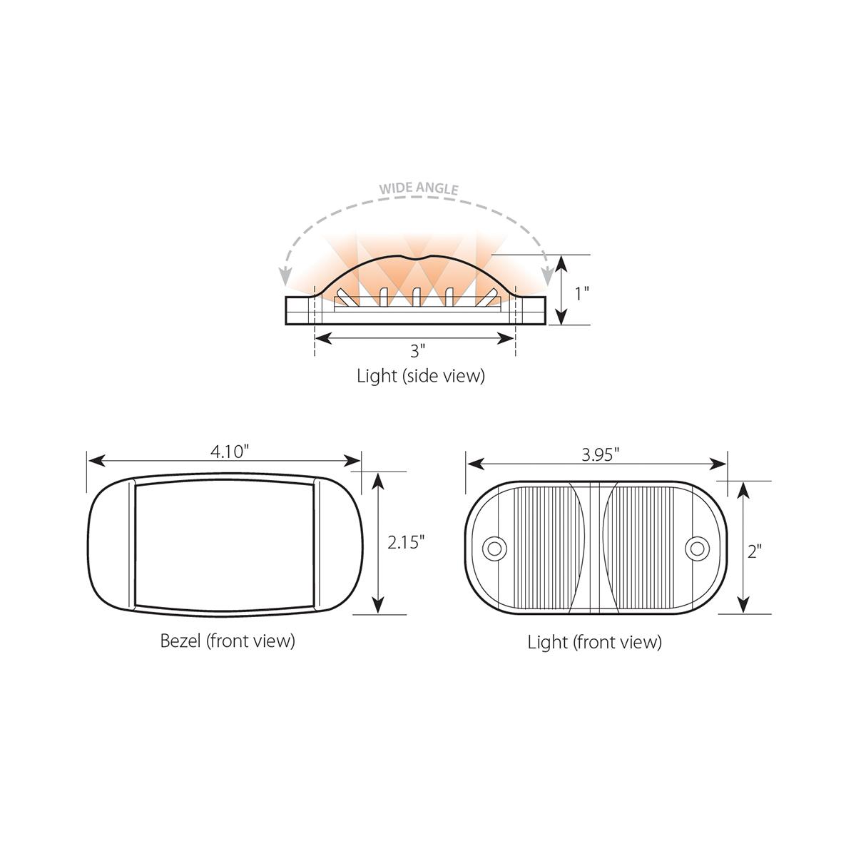 Rectangular Camel Back Wide Angle Dual Function LED Light