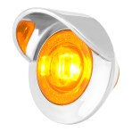 1″ Dia. Mini Push/Screw-in Wide Angle LED Marker Light w/ Chrome Bezel & Visor