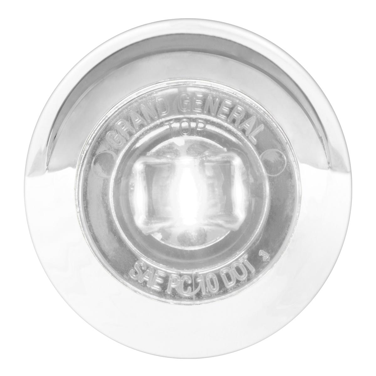 """75254 1"""" Dia. Mini Push/Screw-in Wide Angle LED Marker Light w/ Chrome Bezel & Visor"""