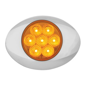 Small Low Profile Surface Mount Spyder LED Marker & Turn Light w/ Chrome Bezel