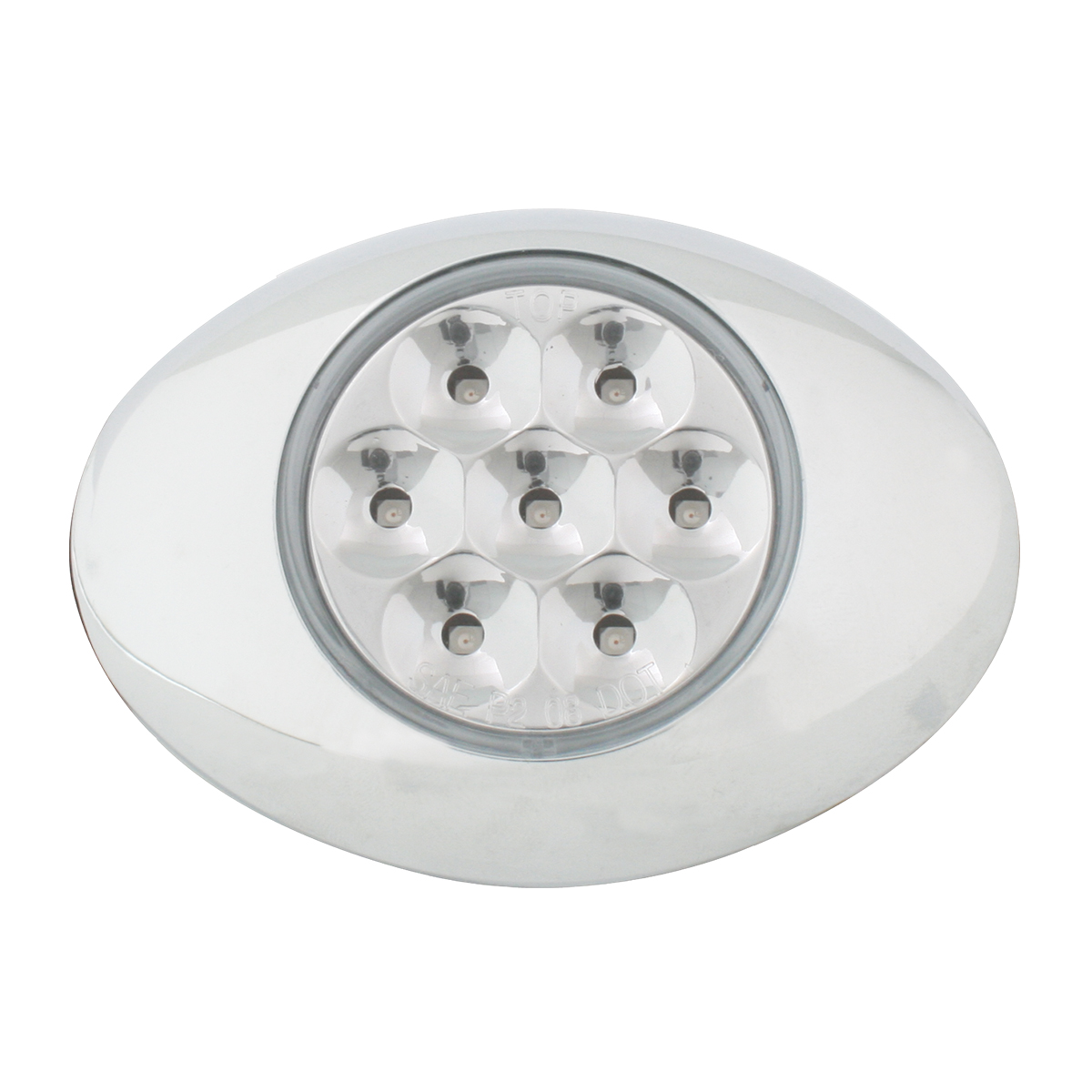 Small Low Profile Surface Mount Pearl LED Marker & Turn Light w/ Chrome Bezel in Clear Lens
