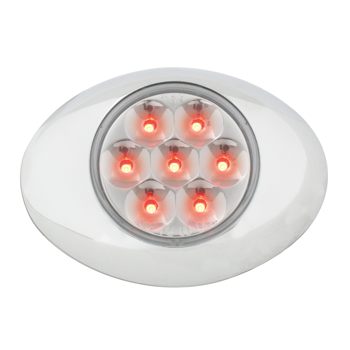 76238 Small Low Profile Surface Mount Pearl LED Marker & Turn Light w/ Chrome Bezel