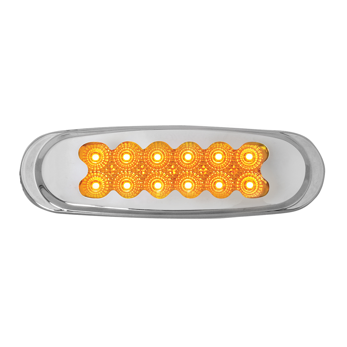 Grand General 76703 Red Matrix Style Ultra Thin Spyder 12-LED Marker Light with Chrome Bezel and Clear Lens