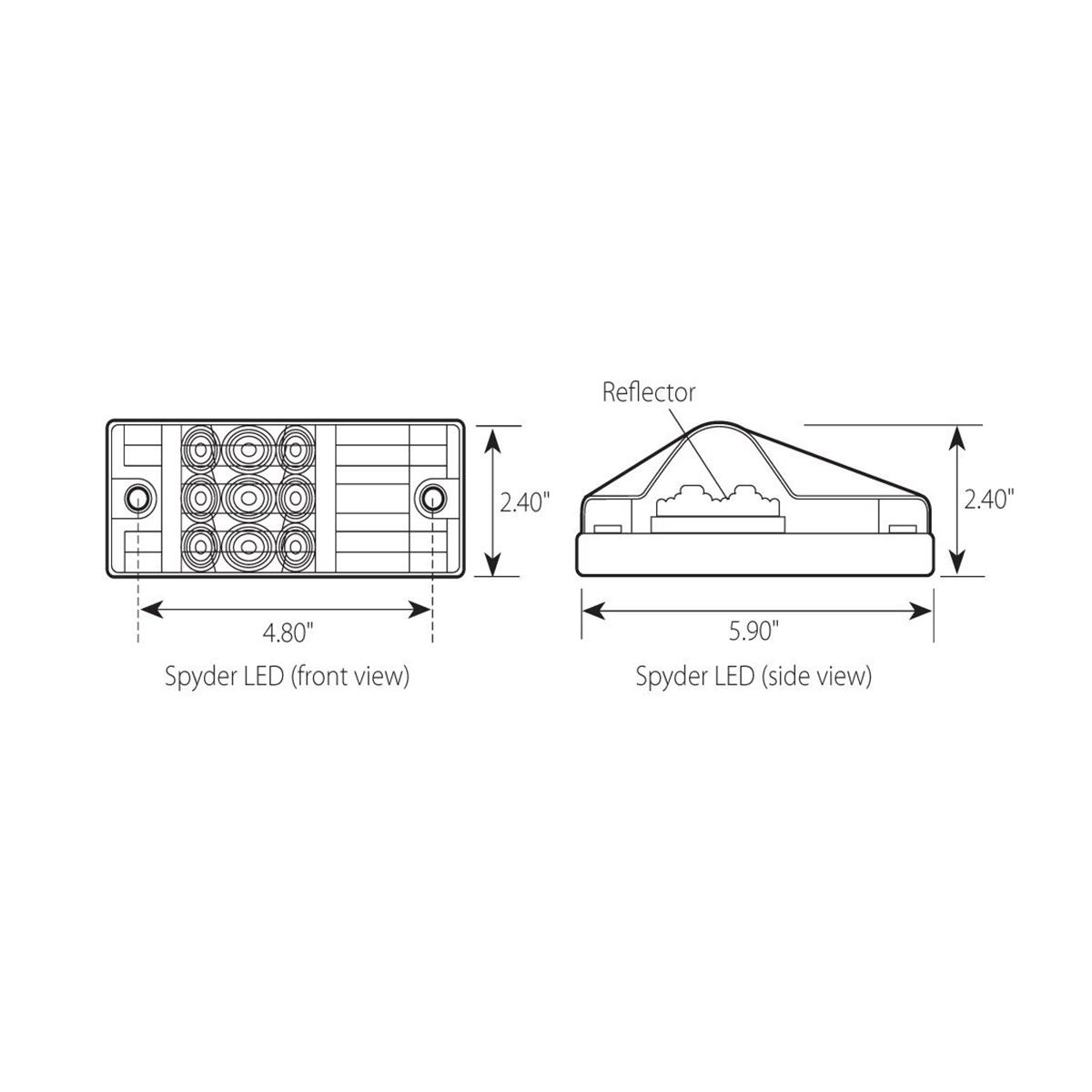 rectangular side mount spyder led turn  marker light - grand general