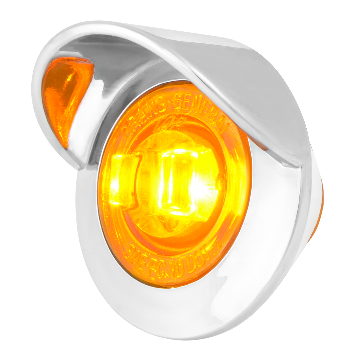 "75230 1-1/4"" Dia. Dual Function LED Light with Chrome Plastic Bezel w/ Visor and Nut"