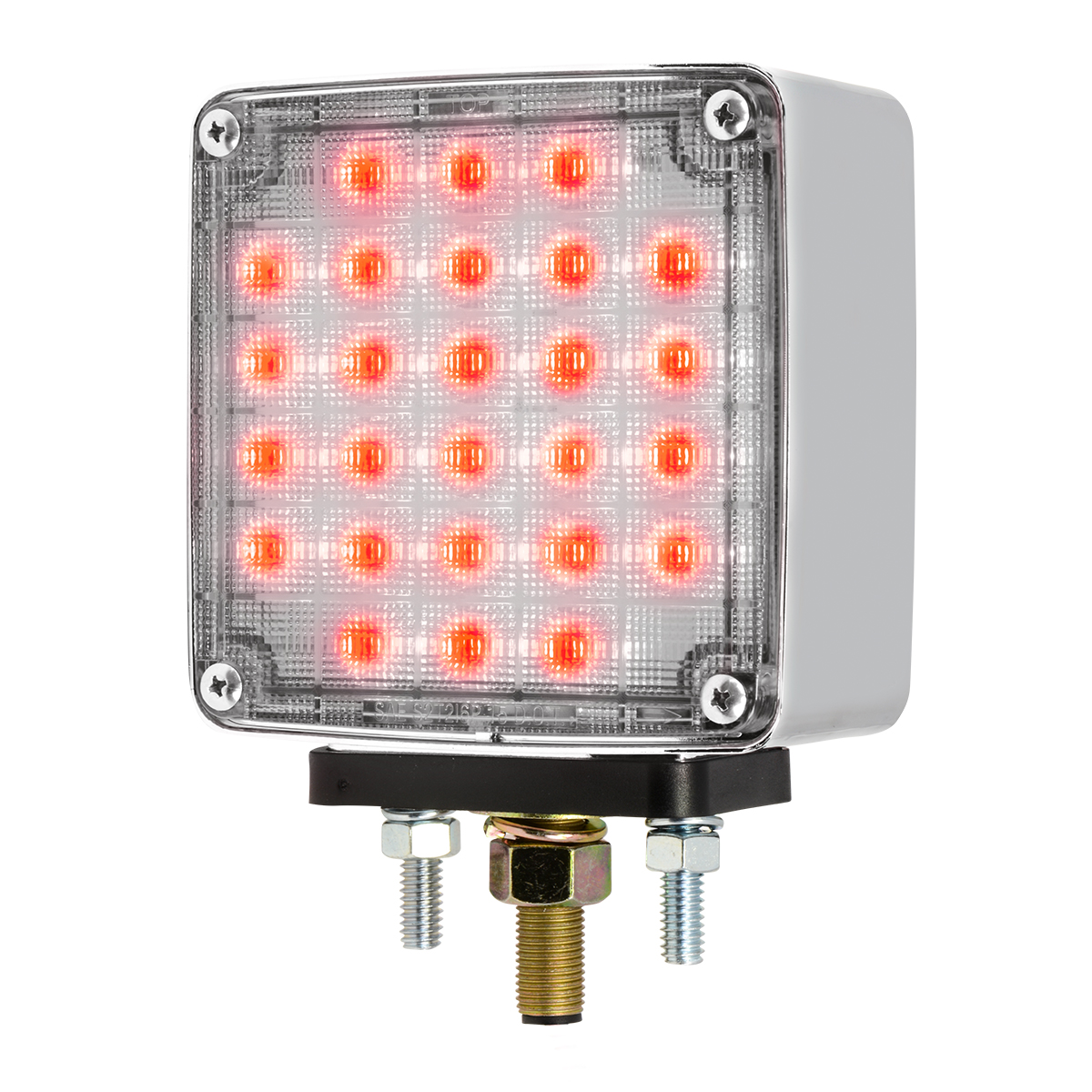 Square Double Face Smart Dynamic LED Pedestal Light in Clear Lens
