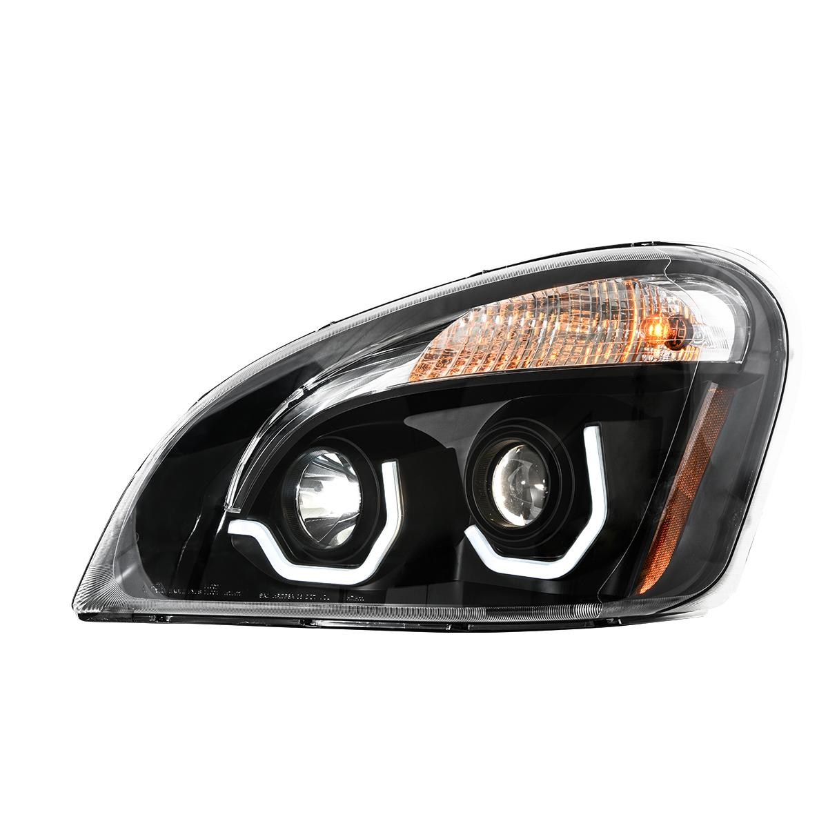 Freightliner Cascadia Matte Black Projector Headlight w/ White LED