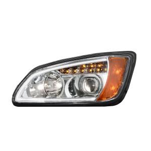 Kenworth T660 Chrome Projection Headlight w/ LED Turn Signal & White LED Running Light