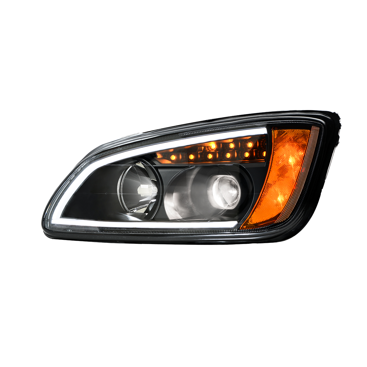 Kenworth T660 Matte Black Projection Headlight w/ LED Turn Signal & White LED Running Light