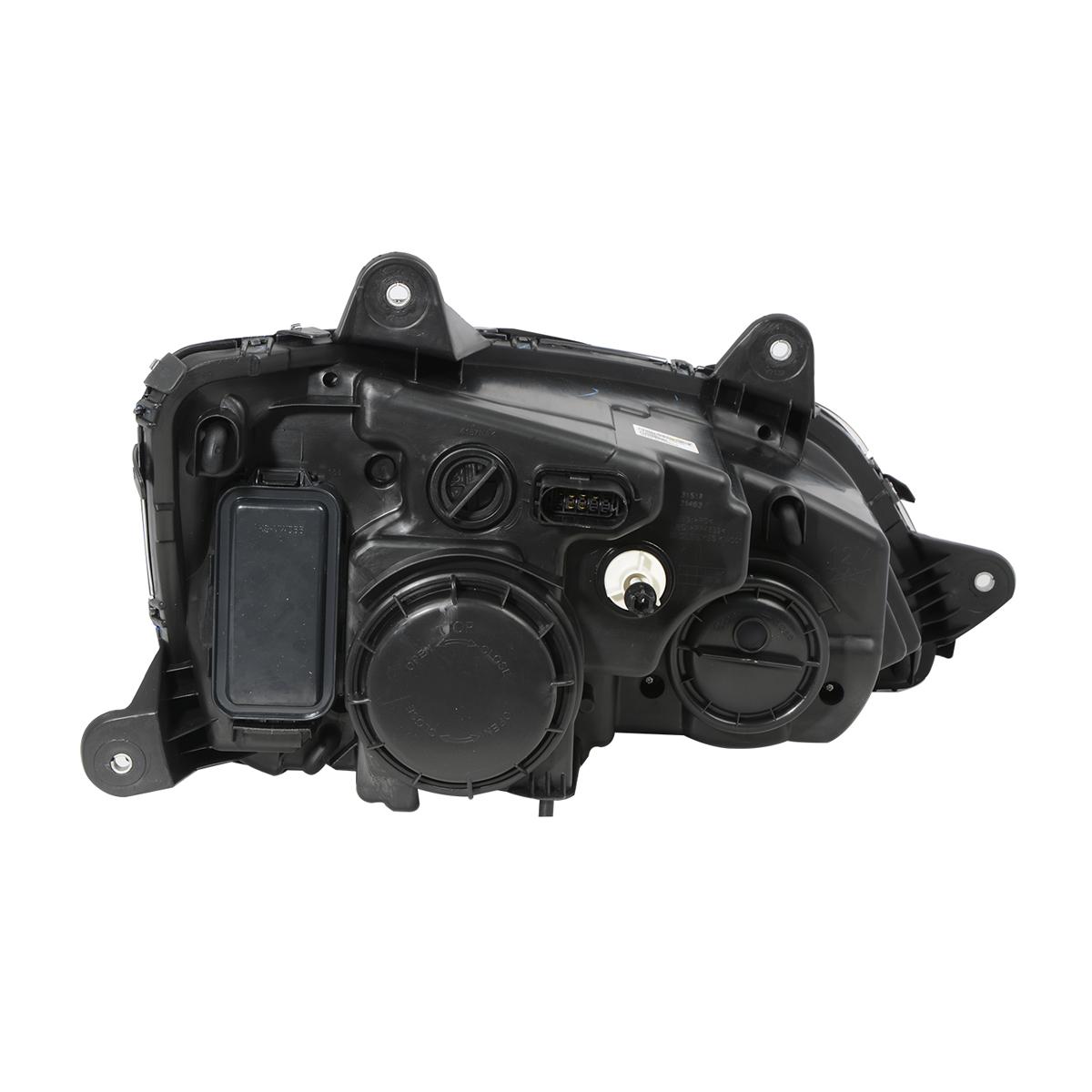 Back View - Kenworth T660 Matte Black Projection Headlight w/ LED Turn Signal & White LED Running Light