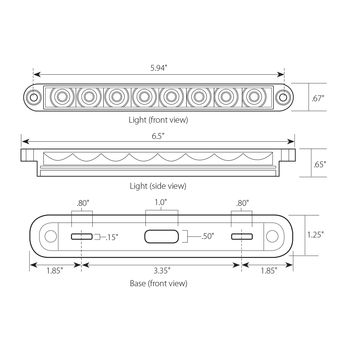 "6.5"" Flush Mount Pearl Marker & Turn LED Light Bar"