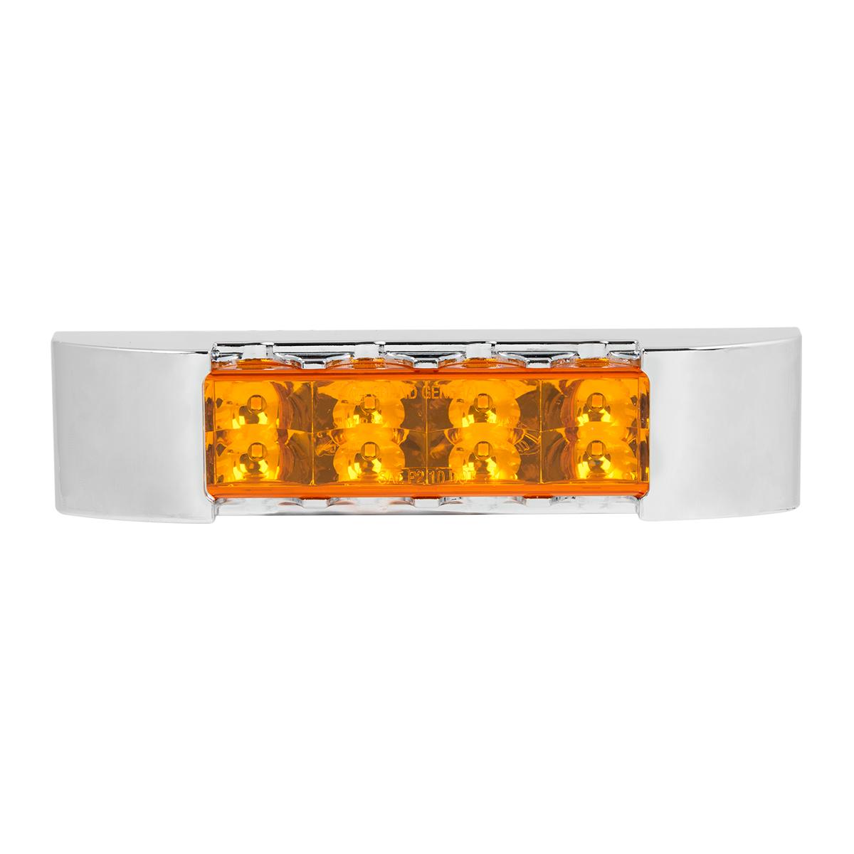 """75175 6"""" Rectangular Surface Mount Pearl Marker & Turn LED Light with Chrome Plastic Bezel"""