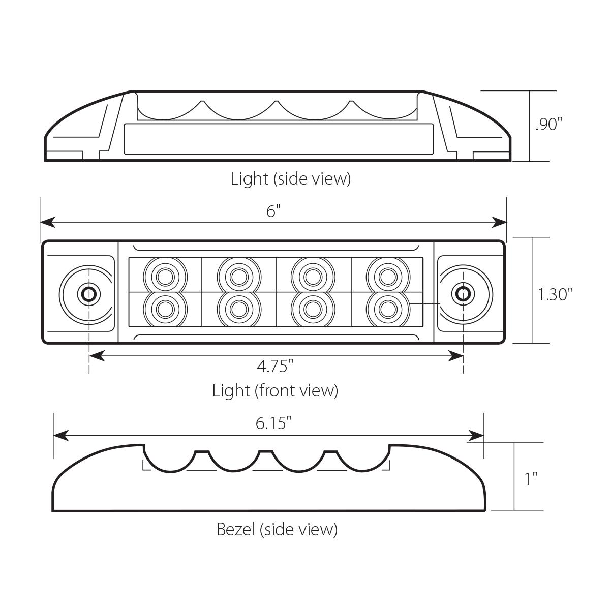"""6"""" Rectangular Surface Mount Pearl Marker & Turn LED Light with Chrome Plastic Bezel"""