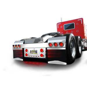Stainless Steel Rear Center Light Panel with 4″ & 1″ Dual Function LEDs, License Plate and Under Glow Effect