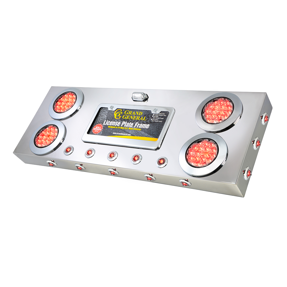 "91303 Stainless Steel Rear Center Light Panel with 4"" & 1"" Dual Function LEDs, License Plate and Under Glow Effect"