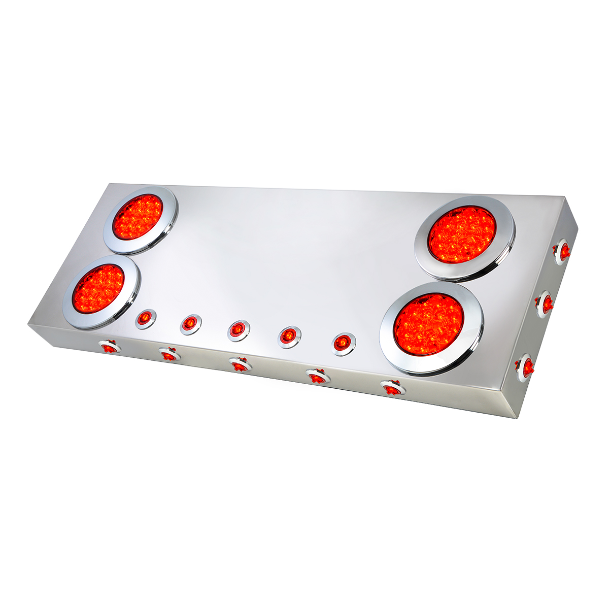 """91312 Stainless Steel Rear Center Light Panel with 4"""" & 1"""" Dual Function LEDs and Under Glow Effect"""