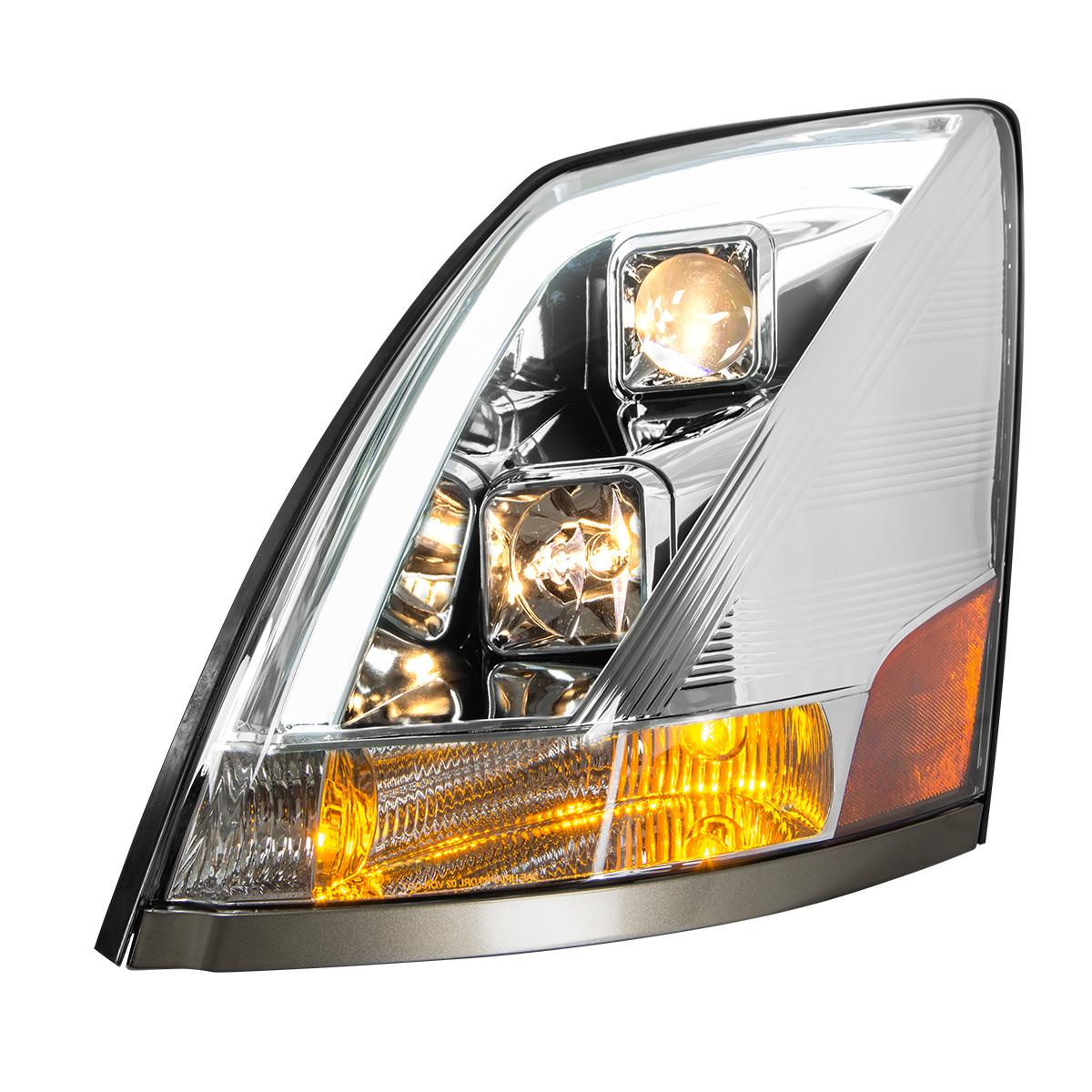 Volvo VN/VNL Chrome Projector Headlight w/White High Power