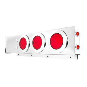 Stainless Steel Spring-Loaded Two Piece Rear Light Bar w/ 4″ Fleet LEDs & Twist & Lock Chrome Bezels